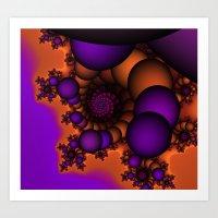 Purple and Orange Fractal 3 Art Print