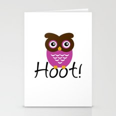 Pink Owl Hoot! Stationery Cards