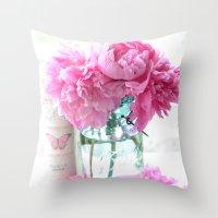 Aqua Pink Cottage Peonies In Mason Jar   Throw Pillow
