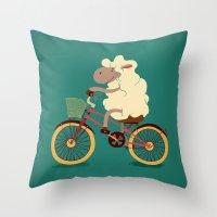 Lamb on the bike Throw Pillow