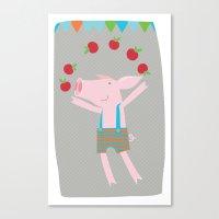 little pigs like apples Canvas Print