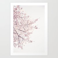 cherry blossom Art Prints featuring cherry blossom by Neon Wildlife