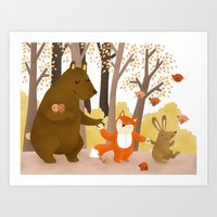 Friends of the forest Art Print