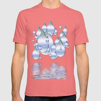 Rain Drops Mens Fitted Tee Pomegranate SMALL