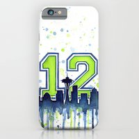 iPhone Cases featuring Seahawks 12th Man Fan Art by Olechka