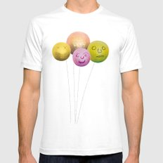 Happy Balloons SMALL Mens Fitted Tee White