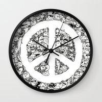 Peace Doodle Wall Clock