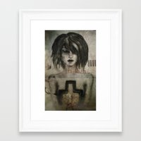 girl / cross Framed Art Print