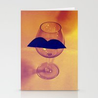 Hipster Wine Glass Stationery Cards