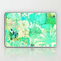 turquoise floral Laptop & iPad Skin