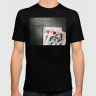 King And Queen Of Hearts Mens Fitted Tee Black SMALL