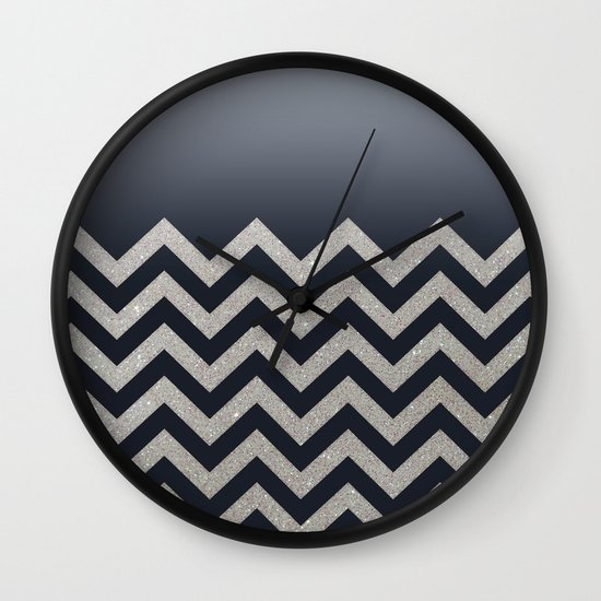 BLACK FADING SILVER CHEVRON Wall Clock