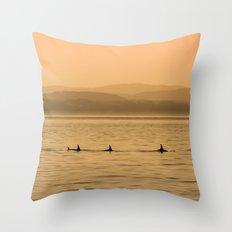 Orca Play Throw Pillow