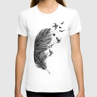 Fly Away Womens Fitted Tee White SMALL