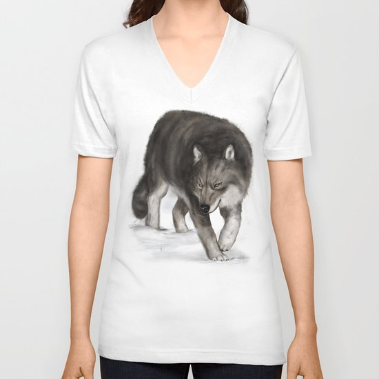 Arctic wolf V-neck T-shirt