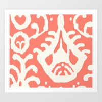 Ikat In Coral  Art Print