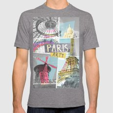 Paris Arty Mens Fitted Tee Tri-Grey SMALL