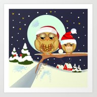 Art Print featuring Cute Christmas Owls On A… by Thea Walstra