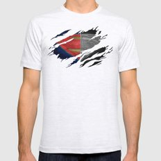Man of Steel Ripped Symbol Mens Fitted Tee Ash Grey SMALL
