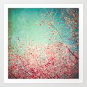 Blue Autumn, Pink leafs on blue, turquoise, green, aqua sky Art Print