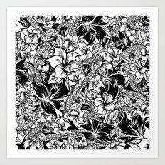 Snaky Fleur, Black 'n White Art Print