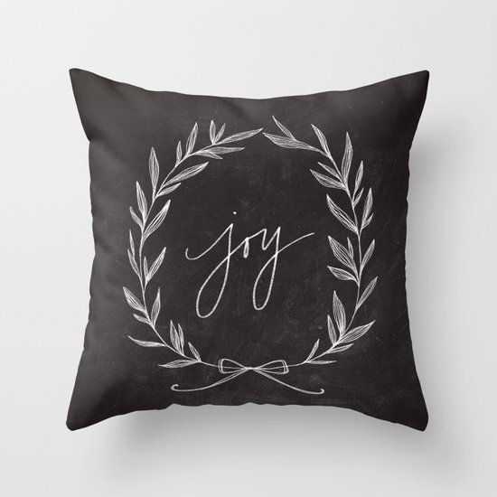 Chalkboard Art - Joy Wreath Throw Pillow