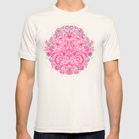 Spring Arrangement - floral doodle in pink & mint Mens Fitted Tee Natural SMALL