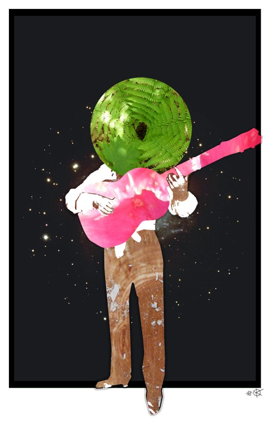 Guitar Man Collage Art Print