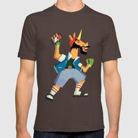 Ok Ready Set Go Mens Fitted Tee Brown SMALL