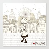 I {❤} Umbrella Canvas Print