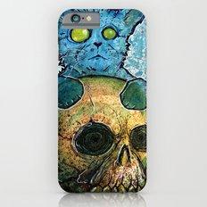Blue Cat on a Skull iPhone 6s Slim Case
