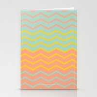 Colorful Chevron on Peach and Mint Stationery Cards