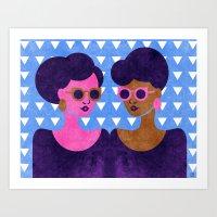 Girls in Purple and Sunglasses Art Print