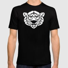 An Béar Bán (The White Bear) Black SMALL Mens Fitted Tee