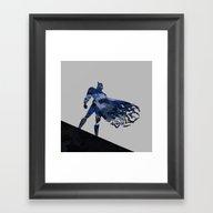 Bat Man  Dark Blue Hero … Framed Art Print