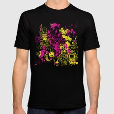 Dream Factory Pink and Yellow Black SMALL Mens Fitted Tee