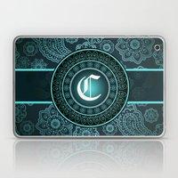 Teal Monogrammed C Laptop & iPad Skin