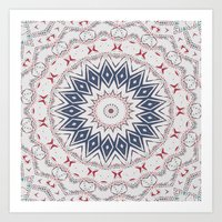 Dreamcatcher Berry & Blue Art Print