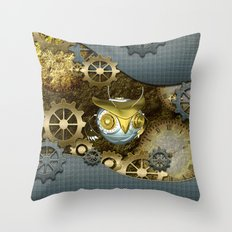 Steampunk, awesome owl Throw Pillow