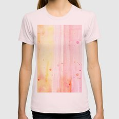 Pink Rain Watercolor Texture Womens Fitted Tee Light Pink SMALL