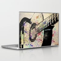 guitar Laptop & iPad Skins featuring Guitar by Del Vecchio Art by Aureo Del Vecchio