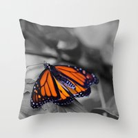 Monarch BW Throw Pillow