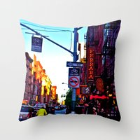 Sun Goes Down  in the City Throw Pillow