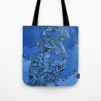 Blue Bird Machine City Tote Bag