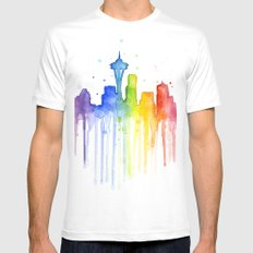 Seattle Rainbow Watercolor Mens Fitted Tee White SMALL
