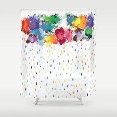 Rainbow raindrops Shower Curtain