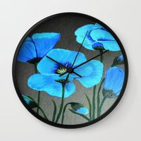 Blue Poppies  Wall Clock