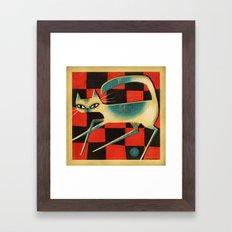 CHECKERBOARD CAT Framed Art Print