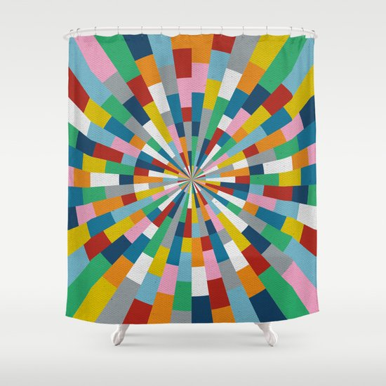 Tick Tock Brick Shower Curtain