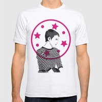 Jean Seberg//Black & White Mens Fitted Tee Ash Grey SMALL